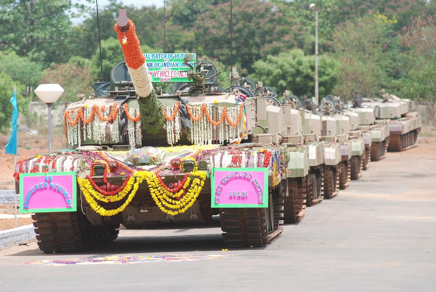 A batch of Arjun tanks rolling out for induction to the Indian Army; Source - DRDO.