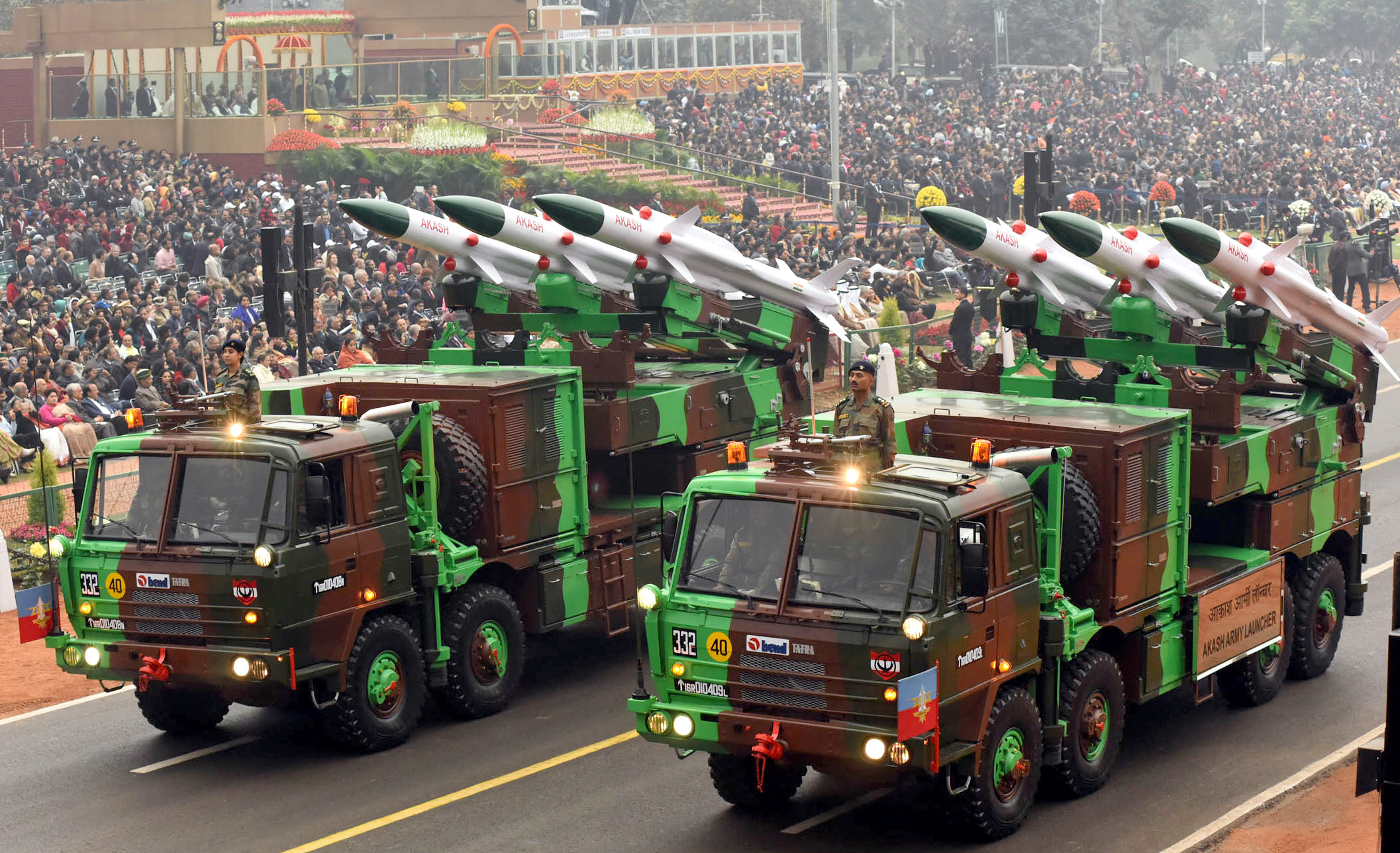 Akash Army Launcher passes through the Rajpath, on the occasion of the 68th Republic Day Parade 2017, in New Delhi on January 26, 2017; Source - DPR.