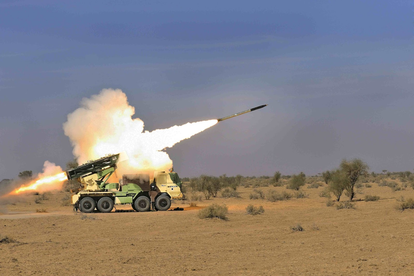 A Pinaka MBRL in Action; Courtesy - PIB , Artillery Indian Army, Indian Army, India Artillery Modernisation