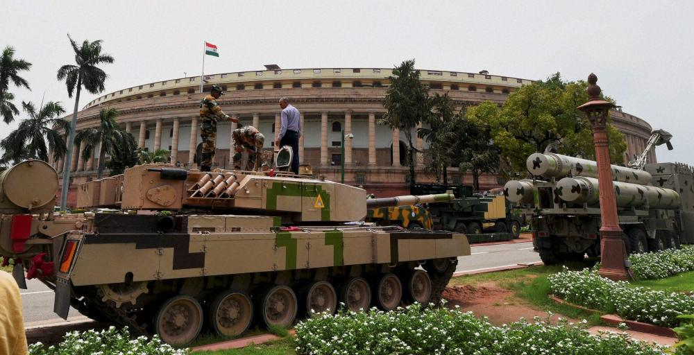 Tanks, Missiles and aircraft roll into Parliament as DRDO organizes exhibition for country's lawmakers.