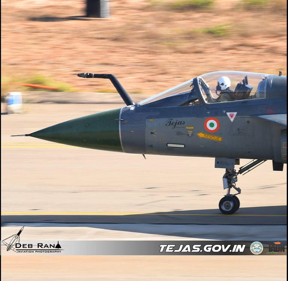 Tejas aircraft with the newly integrated bolt on refueling probe. Source - Deb Rana.