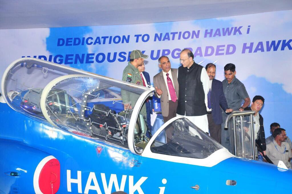 Defence Minister Arun Jaitley dedicates Hawk-i to the nation besides launching full blown production of HAL designed Light Combat Helicopter.