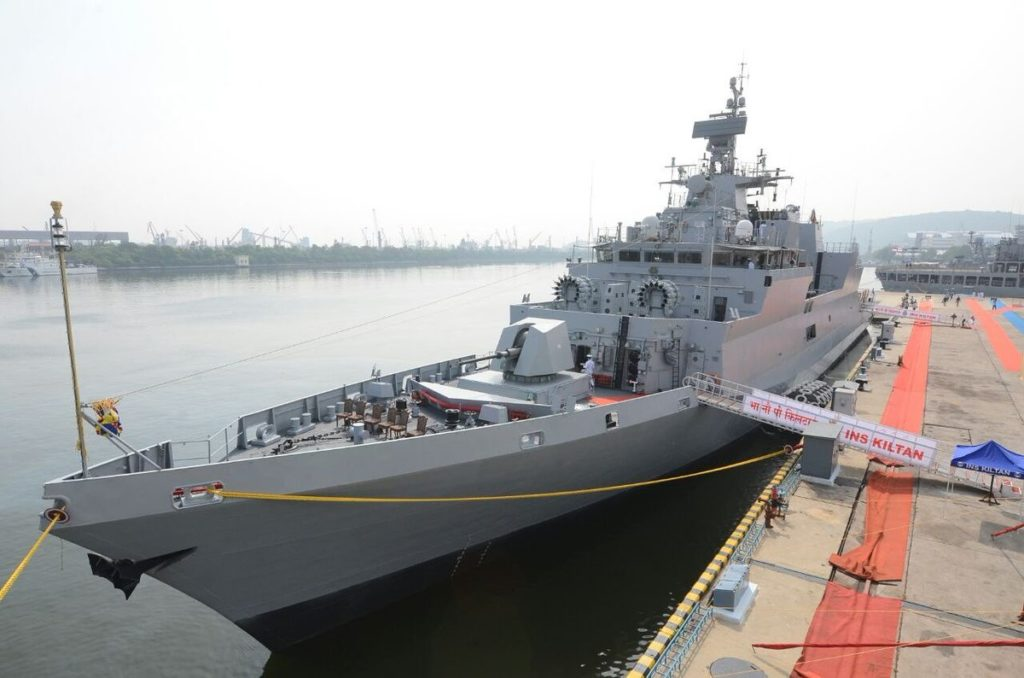 INS Kiltan during its commissioning ceremony.