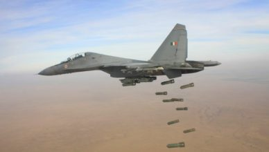 A Sukhoi depicting a bombing run; Courtesy - IAF