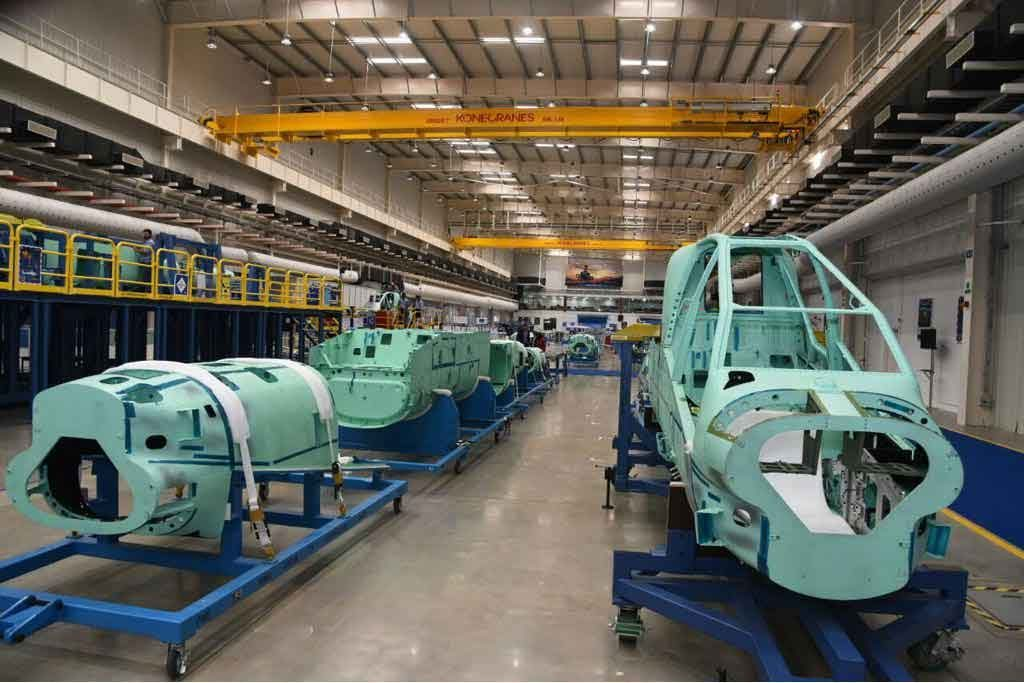 The Assembly Line of Apache Helicopters; Courtesy - Boeing India.